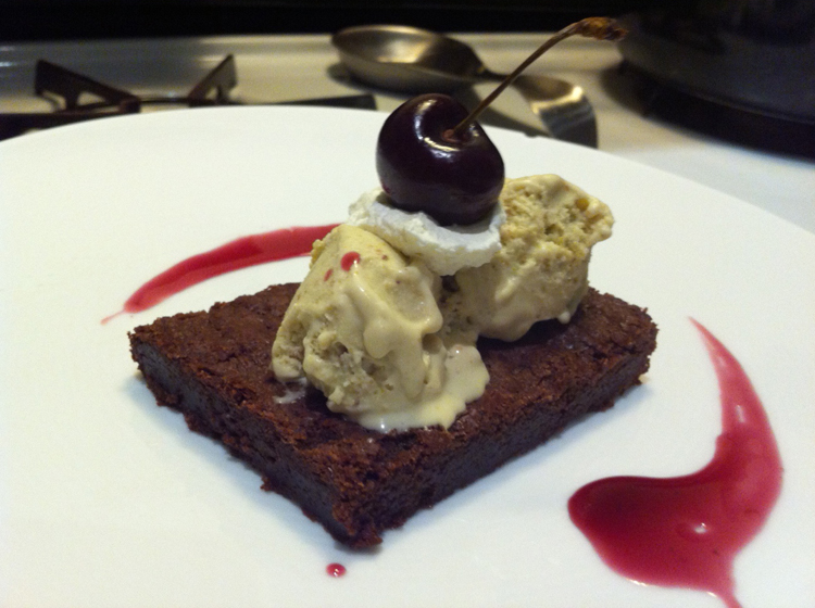 Week Two: Dark Chocolate Brownie, Pistachio Ice Cream, Cherry Reduction, and Fresh Cream